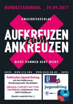 Plakat zum Politiker-Speed-Dating