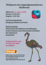 Plakat zur Wahlparty am 17. Januar 2018
